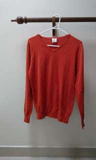 burnt orange v neck knit sweater grandpa funk
