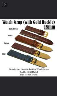 Genuine Leather Watch Strap With Stainless Steel Gold Buckle Design: Alligator Grained Lug Width: 12mm or 18mm