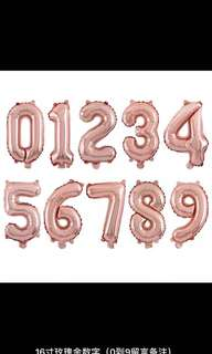 銀色,玫瑰金色數字汽球 silver , rose gold numbers balloon