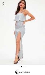 MISSGUIDED Silver Satin Maxi Dress