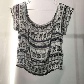 NEW H&M Off shoulder tribal elephant crop top