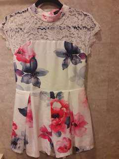 Floral and lace romper