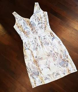 Grey Spotlight Warehouse Floral Embroidery Dress