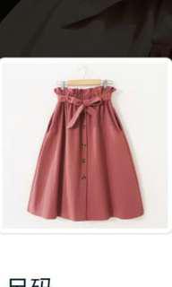 韩版松緊高腰口袋系腰帶粉磚红簡约中擺裙單排扣半身裙