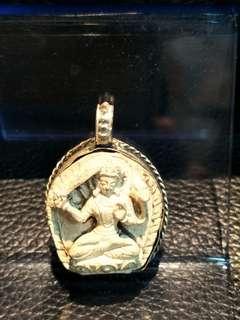 🚚 藏密老聖物(文殊菩薩,老件擦擦)包老藏銀殼