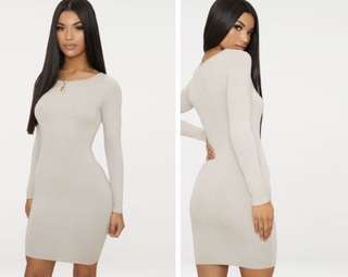 Pretty Little Thing Nude Bodycon Dress