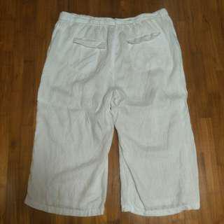 M & S White Wide Leg Linen Pants Size 20