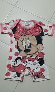 Minnie Mouse pink white Romper 80