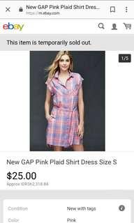 Pink Plaid Gap Shirt Dress
