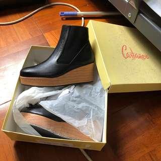 Castaner 意大利 西班牙造 手工鞋 皮鞋 草鞋 厚底鞋 黑色 短靴 Black ankle boot shoes oxford shoes
