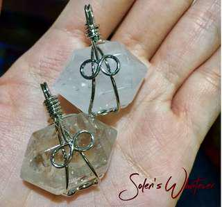 Wire Wrapped Clear And Smoky Quartz Pendant