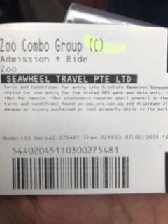 Admission ticket for child to Singapore Zoo