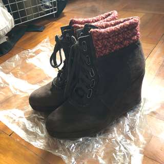 Pedder red 絨面 高踭鞋 短靴 ankle boots