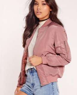Misguided Pink Satin Bomber Jacket