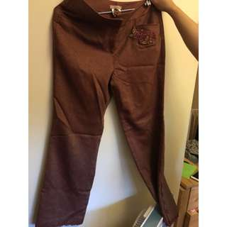 Moiselle 啡色 薄 絨布 長褲 brown long pants trousers