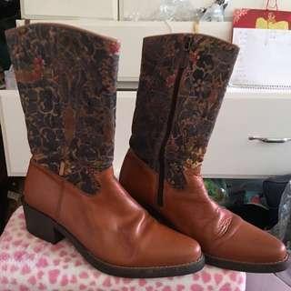 美國牛仔風 皮靴 長靴 Long boots Leather Boots cowboy style 拼接