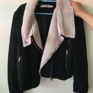 Vero Moda 黑色 白色 加厚 外套 褸 black and white thick coat jacket