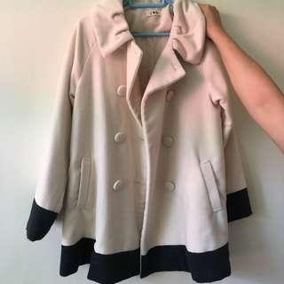 米白色 拼接 雙排鈕扣 外套 褸 beige and black coat jacket trench coat