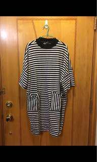 Monki 間條連身裙,Size :M,沒有任何破爛和汚漬。注意:可以先入數之後順豐到付
