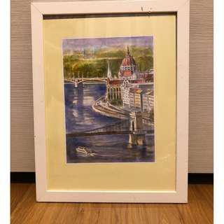 IKEA frame with Budapest Bridge Ilustration