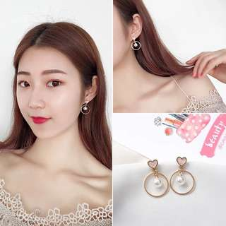 Heart&pearl earrings