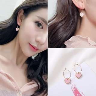 Pink heart loop earrings