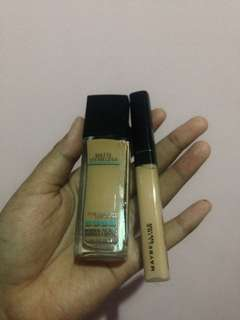 Maybelline paket fit me foundation (228/soft tan) dan concealer (20/sand)