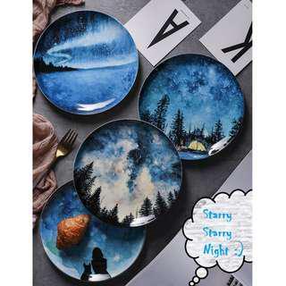 The Arctic - Starry Night Ceramic Plates Set,  歐洲設計北極星空圖案陶瓷碟