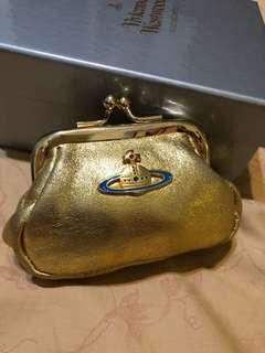 🚚 Vivienne Westwood 金色珠扣零錢包