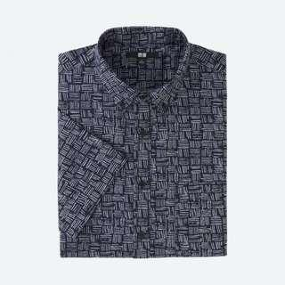 Navy Printed Short Sleeve Shirt