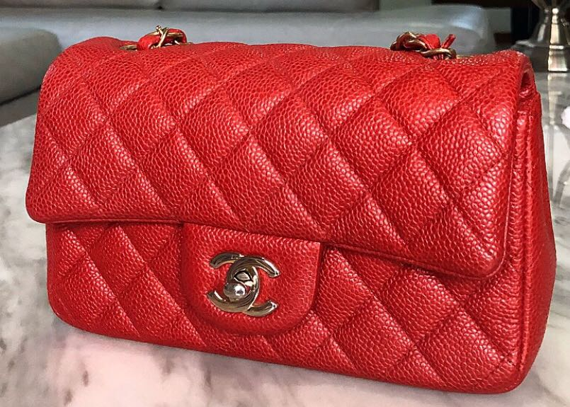 2680b5da2d17b1 Chanel mini rectangular pearly red caviar with GHW, Luxury, Bags ...