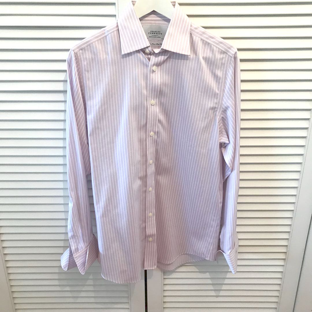 8175c5f4 Charles Tyrwhitt White Purple French Cuff Dress Shirt, Men's Fashion ...