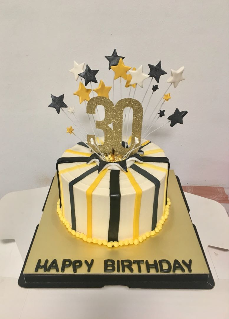 Customized White Gold And Black Themed Birthday Cake Food Drinks