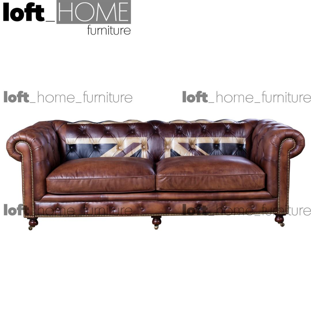 Picture of: Full Genuine Leather Sofa Chesterfield Union Jack Furniture Sofas On Carousell