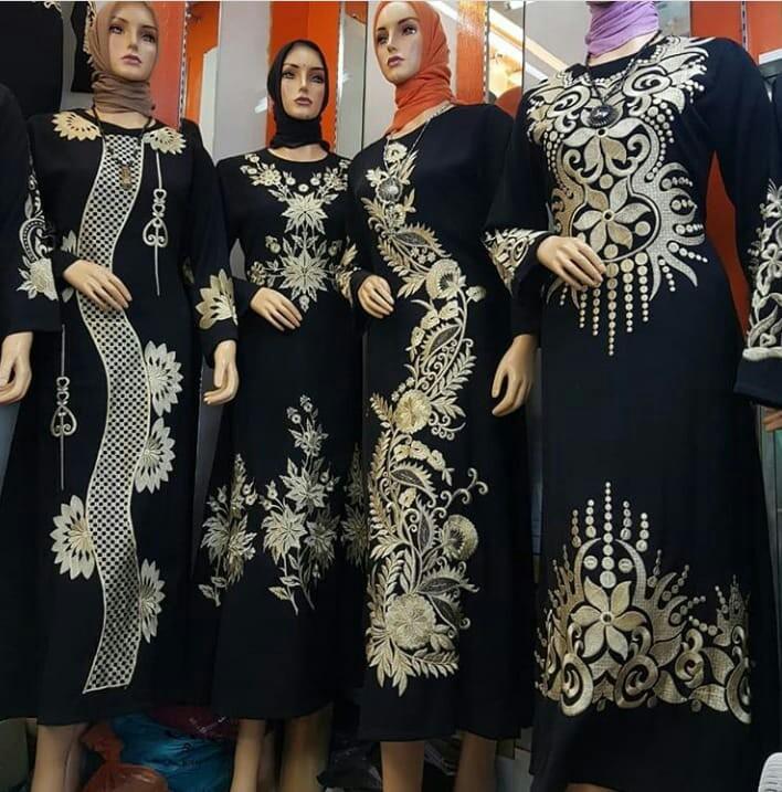 Gamis Bordir Bahan Jetblack Bordir Size S 5l Women S Fashion