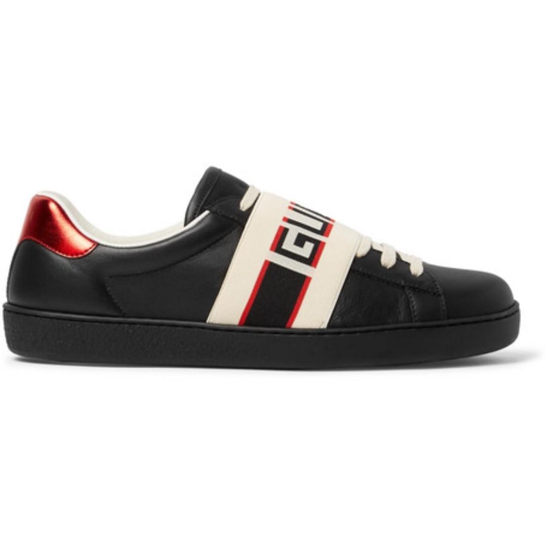 95ab8820fb43b Gucci Logo-Print Leather Sneakers