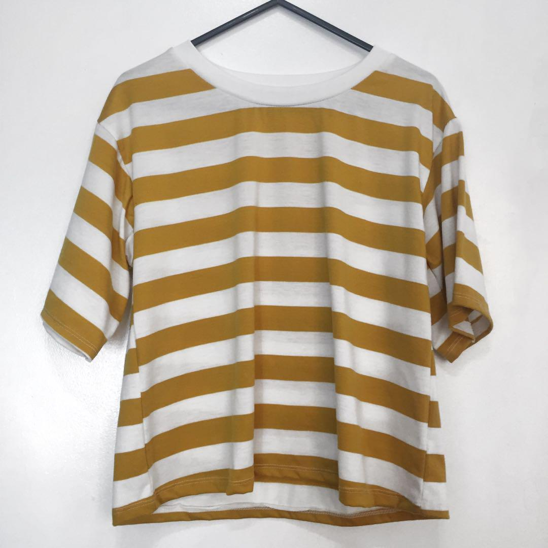 1ce05574f3 Korean Mustard Yellow Stripes Shirt on Carousell