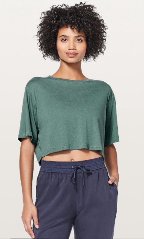 84333d2dc80e3 Lululemon cortes crop tee, Sports, Sports Apparel on Carousell