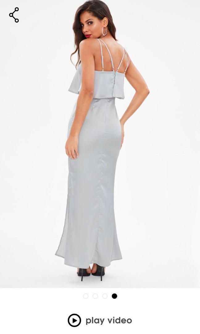 MISSGUIDED Silver Satin Maxi Dress