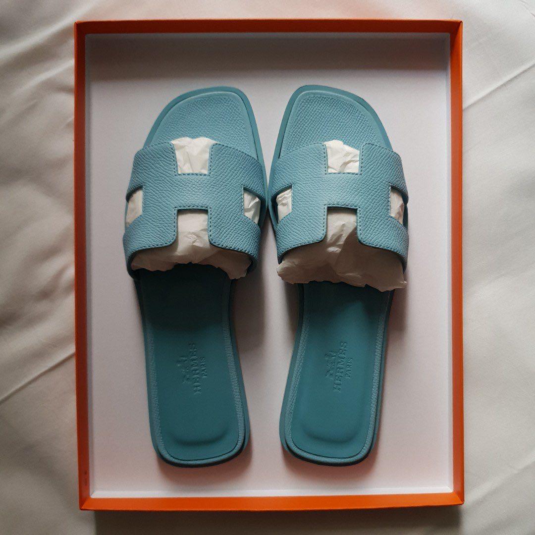 1175ec64b491 New Hermes Blue Ciel Epsom Oran slippers size 35.5