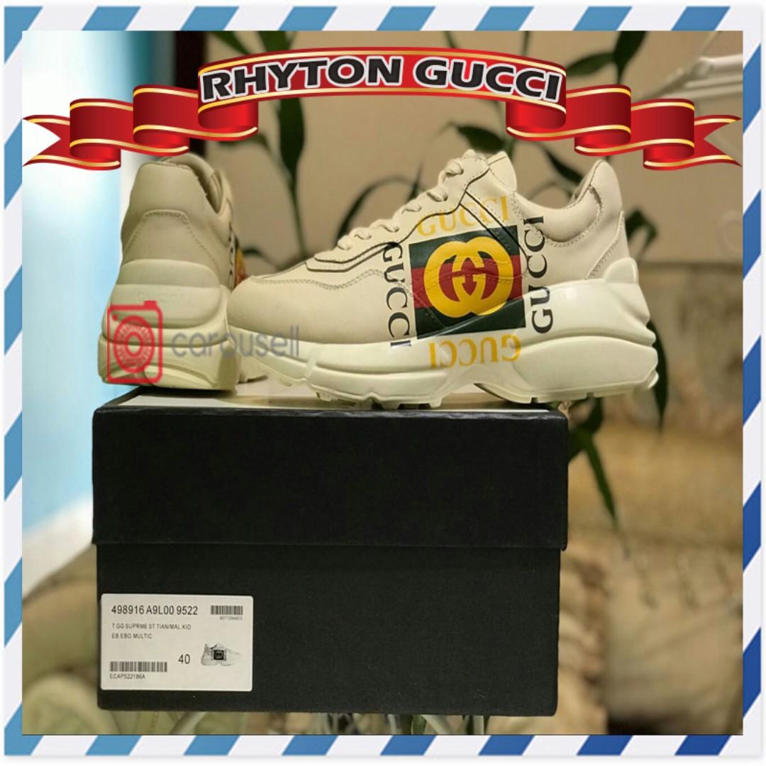 cee9d0476eab Rhyton Gucci Logo Leather Sneaker