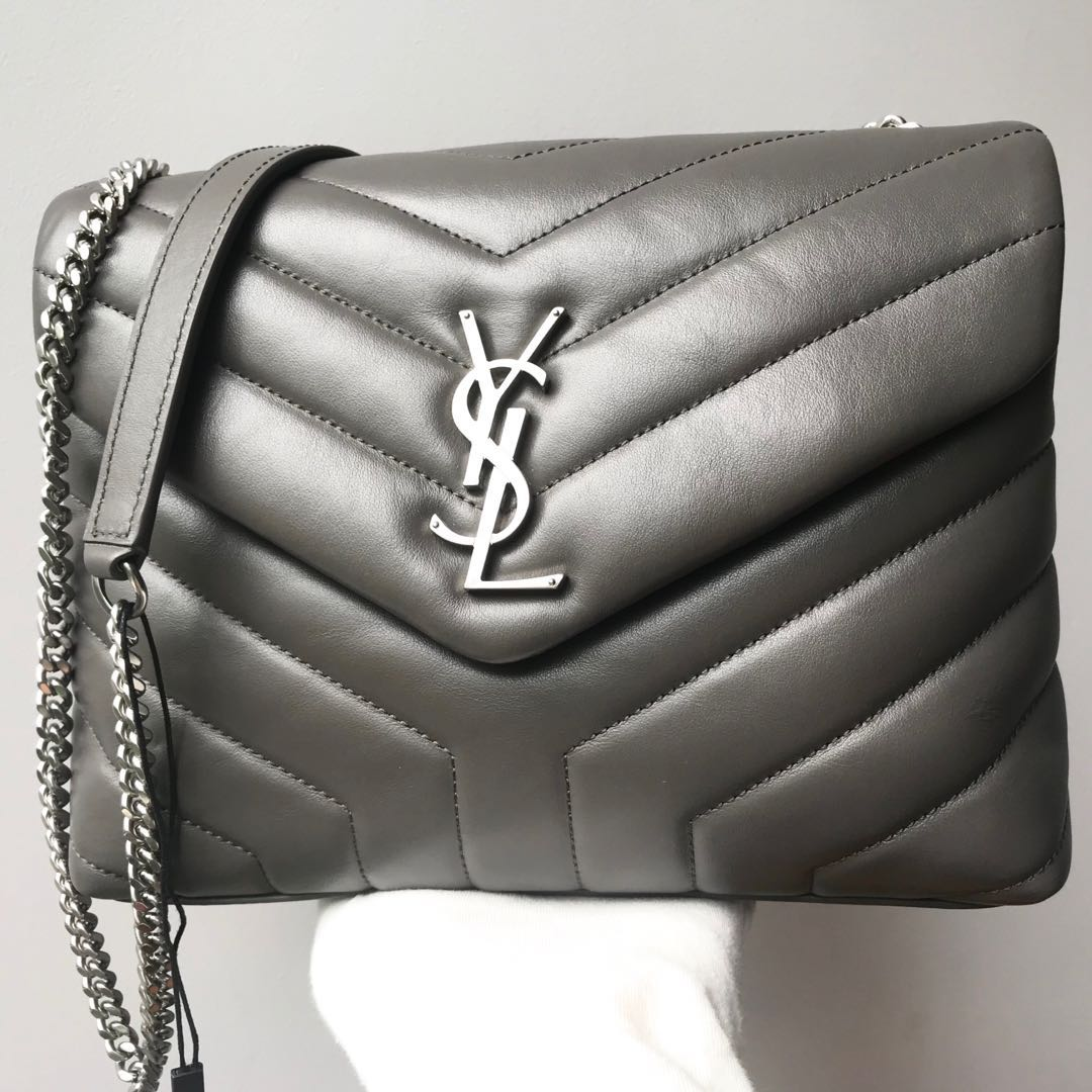 3377751df3e5 YSL Saint Laurent Grey Small Loulou Leather Chain Bag 100% AUTHENTIC ...