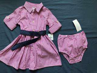 🆕Ralph Lauren POLO 桃紅直條紋襯衫洋裝👗女孩氣質💯