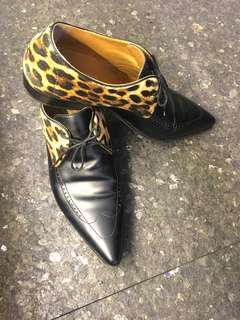 Men's Black Leopard-Printed Velvet & Leather Shoe