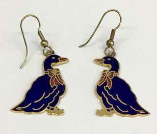 Vintage Cloisonné Duck Earrings 1980's