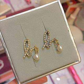 非誠勿擾Agnes b Crystal Pearl Earrings 閃石珍珠耳環