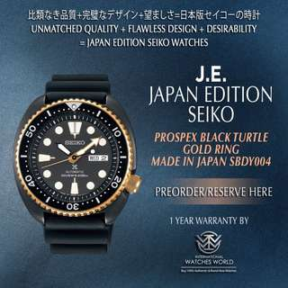 SEIKO JAPAN EDITION PROSPEX BLACK TURTLE W GOLD RING SBDY004 MADE IN JAPAN