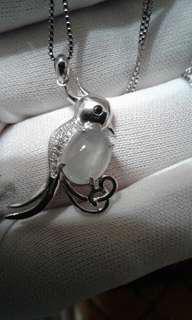天然緬甸翡翠A  冰種   鳥造型銀  項鍊