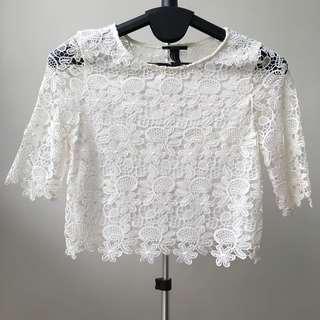 White Lace Crop Blouse