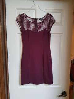 Maroon fitted dress with lace shoulders size small